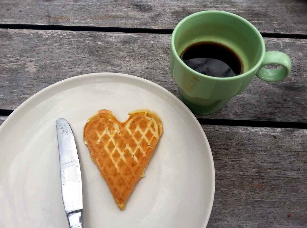 Heart Waffle And Coffee